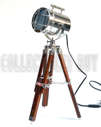 online retailer 8fca2 6aa50 Collectibles Buy Vintage Spotlight Tripod Chrome/Silver Finish & Brown  TABLE LAMPS