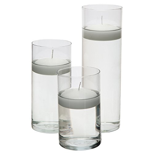 Glass Cylinder Vases - SET OF 3 - Including 3 FLOATING DISC CANDLES, Decorative Centerpieces For Home or Wedding by Royal Imports (Pillar Ginger Green Candle)