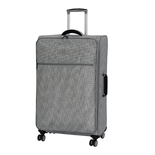 """it luggage 30.5"""" Stitched Squares 8 Wheel Lightweight Expandable Spinner, Flint Grey"""