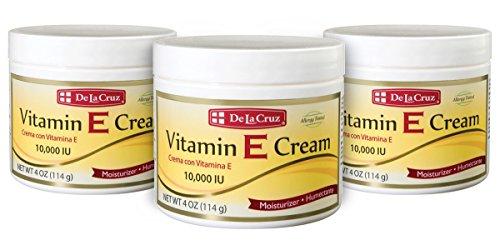 De La Cruz Vitamin E Cream 10,000 IU, Allergy Tested, No Artificial Colors, Made in USA 4 OZ. (3 Jars)