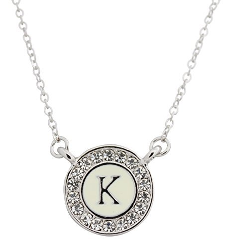 Alphabet Background - Maren Elena Alphabet Letter Pendant on 15mm Enamel Background with Austrian Crystal Halo (K)