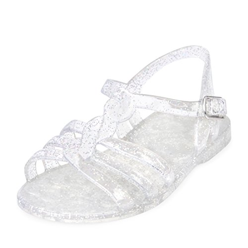 The Children's Place Girls' TG Patched Jelly Flat Sandal, Silver, TDDLR 5 Medium US Infant