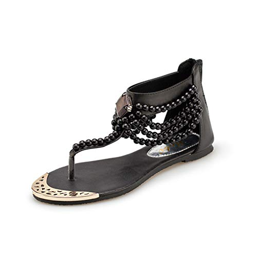 Respctful ♫♫Women Ankle Wrap Sandals Casual Boho Beading Open Toe Strap Summer Flat Shoes with Zipper Black