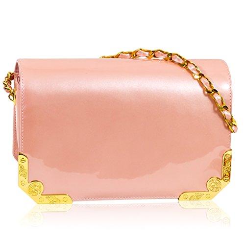 Valentino Orlandi Italian Designer Coral Pink Patent Leather Mini Purse Messenger Bag - Italian Patent Leather Handbag Purse