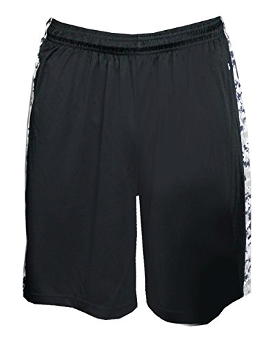 Black/White Digital-Camo Side Panel Adult Large Athletic Sports Performance Wicking B-Attack Shorts