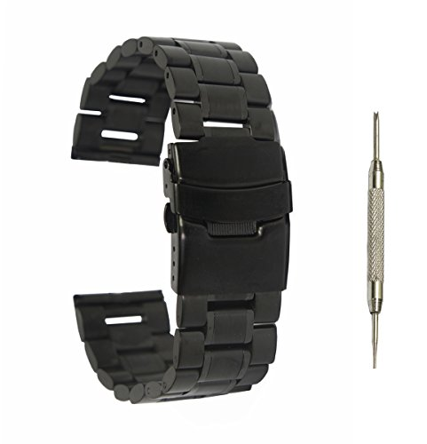 @ccessory 24mm Stainless Steel Metal Watch Band Strap + Tool + 2 Pins For Sony SmartWatch 2 SW2 (Black)