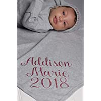 Personalized Baby Girl Gray Gown Blanket and Hat Set