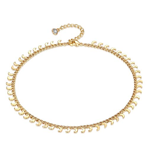 - LOYATA Dainty Ankle Bracelet, 14K Gold Plated Tiny Bead Anklet Dainty Moon Crescent Dangle Foot Chain Lucky Beach Foot Jewelry Boho Anklets for Women (Moon)