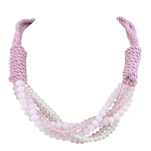 Firstmeet Multi-Layer Chunky Glass Beads Rope Necklace for Women (XL-1013-pink) ()