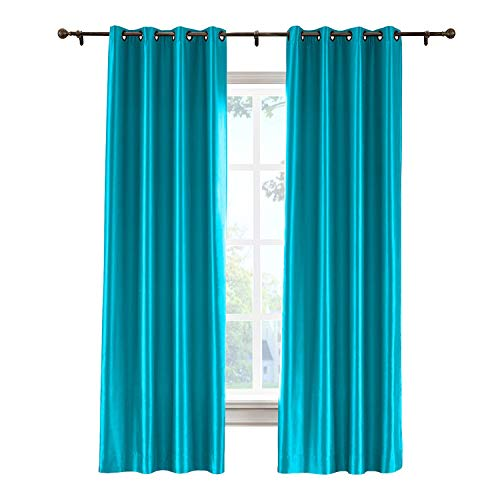 cololeaf Blackout Curtains for Bedroom Dupioni Faux Silk Lined Curtain Panels for Living Room - Thermal Insulated & Energy Efficiency, Bronze Grommet, Turquoise 84