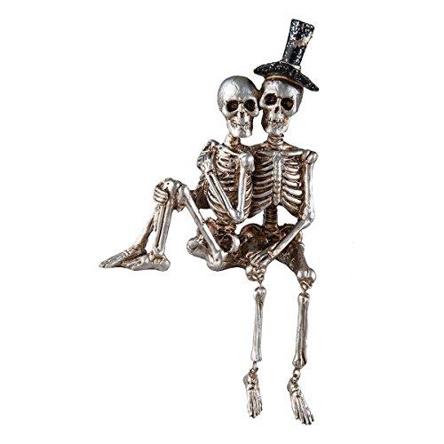 Love Never Dies Skeleton Couple Halloween Shelf Sitter (Shelf Sitter Skeleton)