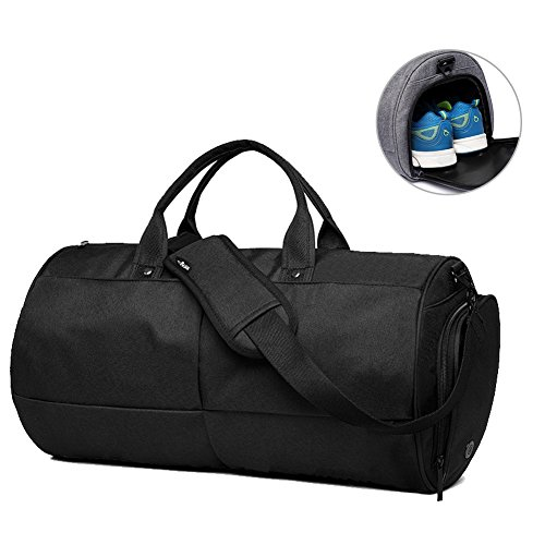 Keynew Canvas Travel Duffel Bag Water Resistant Sports Gym Luggage with Shoes Compartment (Black)