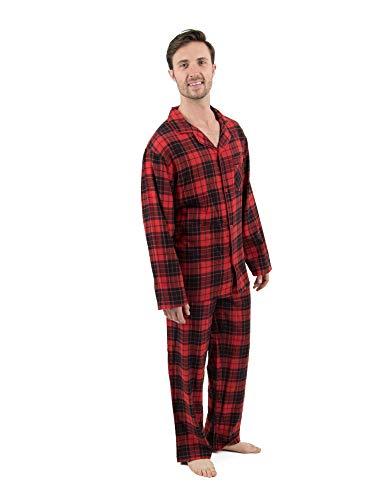 Leveret Mens Pajamas Flannel Pjs 2 Piece Christmas Pajama Set Black/Red Plaid Size XXX-Large