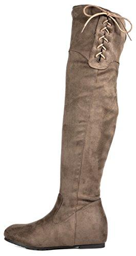 TRAUM-PAAR-Frauen Overknee-Schenkel-hohe Ausdehnungs-Aufladungen Drew-Khaki