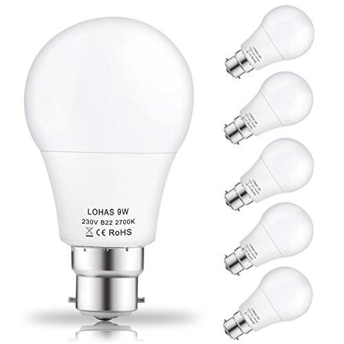 (5 Pack) LOHAS 9Watt A60 B22 LED Bulbs, 60Watt Incandescent Bulbs...