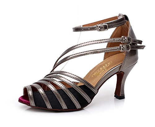 JSHOE Modern Tea Shoes Samba Salsa Our42 EU41 Gray Para Tacones Altos heeled7 5cm Jazz Tango UK7 Sandalias Mujer r1rSx