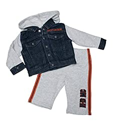 Harley-Davidson Boys Winged B&S Fleece Hooded Denim Blue Jog Set (0/3M)