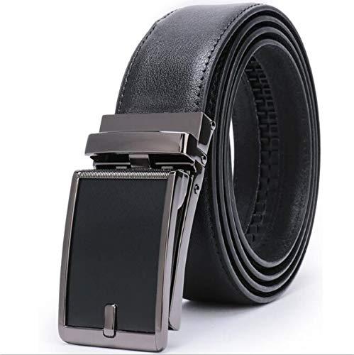Men's Genuine Leather Ratchet Dress Belt Automatic Buckle Belts for Men,Linx-PV,48-50