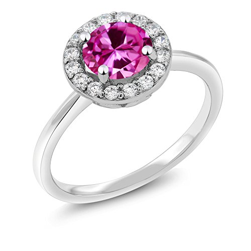 Gem Stone King 925 Sterling Silver 1.86 Ct Round Pink Created Sapphire Halo Engagement Ring (Size 7)
