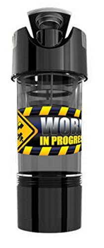 Work In Progress High Intensity Pre/Post Workout Shaker Bottle with Storage Compartment (Gotham Black)