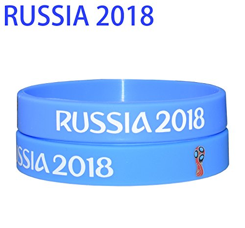 VEWCK Flag Silicone Bracelet Classic Bangle Letter Pattern 40 Countries 2-Pack (World Cup Blue) from VEWCK