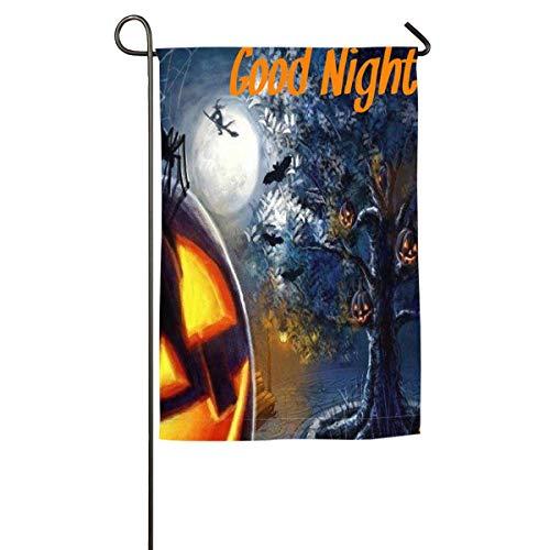 Kupik FourSeasonal Garden Flag Happy Halloween Good Night Holiday Yard Flag Outdoor Decorative-12 X18/18