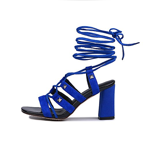 Amoonyfashion Womens Frosted Open-toe Open-teen Hoge Hakken Effen Sandalen Blauw