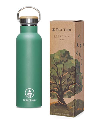 Tree Tribe Green Stainless Steel Water Bottle 20 oz – Indestructible, BPA Free, 100% Leak Proof, Double Wall Insulated for Hot and Cold, Wide Mouth