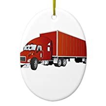 Christmas Decorations Tree Ornament Semi Truck Red Trailer Cartoon Ceramic Ornament Oval Ornament Funny Xmas Gifts Holiday Home Decor