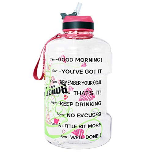 QuiFit Gallon Sport Water Bottle Wide Mouth with Straw Lid Easy Sipping 128/73/43 Ounce Motivational Time Marker Encourage You Drinking Enough Water Throughout The Day (128 Ounce Love Tree)