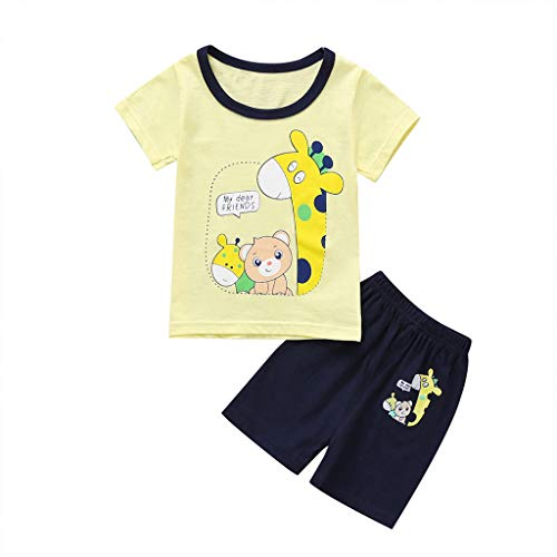 0-4T Toddler Kids Baby Boy Short Pants Sets Cute Animal Print T Shirt Solid Color Shorts Outfits Trendy Pajamas Layette Sets (Yellow, 18-24 Months)