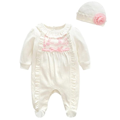 Sunward Newborn Infant Girls Hat + Lace Romper Jumpsuit Set Outfit For Baby 0-24M, (White, 3M)