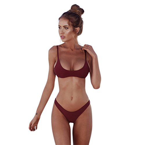 MOSE Women's Strap Bathing Suit 2pcs Swimsuit Top Brazilian Push-up Padding Bikini Set (Wine Red, - To Swimsuit For How Measure
