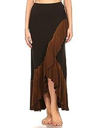Womens Two Tone Ruffle Tulip Maxi Skirt//