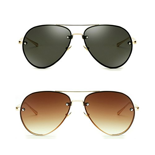 Oversized Aviator Sunglasses Vintage Retro Gold Metal Frame Colorful Lenses 62mm (Black+Brown, 62MM)