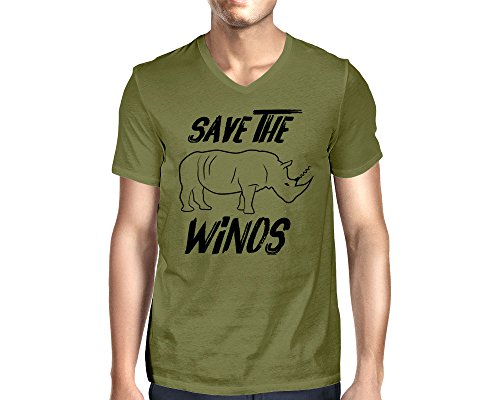 HAASE UNLIMITED Men's Save The Winos V-Neck T-Shirt (Olive, Small) ()