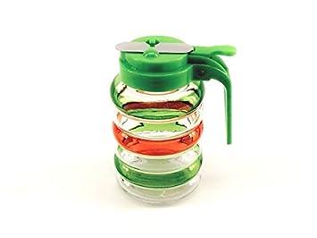 10 oz de cristal multicolor Jarabe dispensador de miel jarra de azúcar de arce plástico tapa