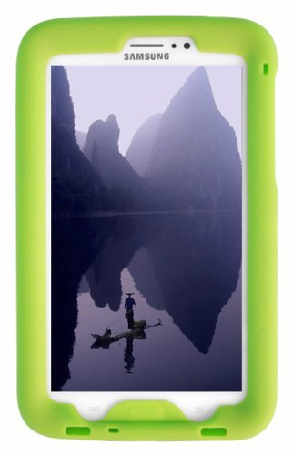 Bobj Rugged Case for Samsung Galaxy Tab 3 7-inch Tablet, Tab3 7-inch Kid's Edition (Not for Tab3 Lite, Tab2, or Other Models) - BobjGear Custom Fit - Sound Amplification - Kid Friendly (Gotcha Green)
