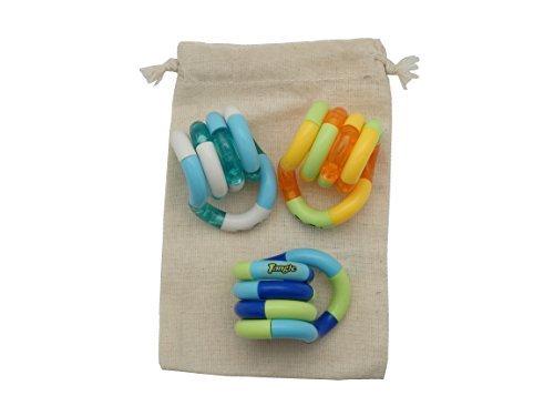 (Set of 3! Tangle Jr. Original Fidget Toy in Cotton Drawstring Carry Storage Bag)