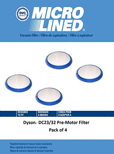 DVC Micro-Lined DVC Created Dyson DC23/32 Pre-Motor Filter Pack of 4 by DVC Micro-Lined