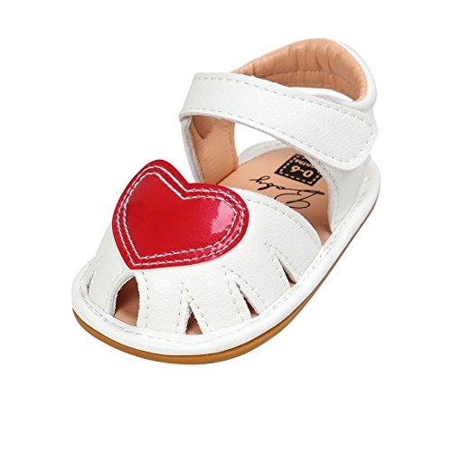 BOBORA Bebe Ninas Princesa Zapatos Amor Corazon En Forma De Sandalias Huecas blanco