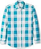 Amazon Essentials Men's Regular-Fit Long-Sleeve Casual Poplin Shirt, Teal Buffalo, X-Small