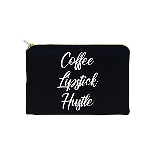 Coffee Lipstick Hustle 12 oz Cosmetic Makeup Cotton Canvas Bag - (Black Canvas) by Decal Serpent