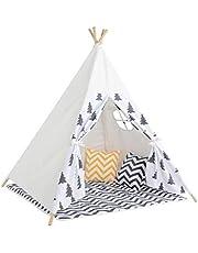 خيمة هندية تيبي للاطفال رباعية الاقطاب بتصميم على شكل بيت مصنوعة من قماش قطني باللون الابيض مطبوع برسوم كرتونية