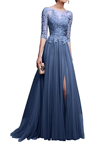 La Ballkleider Spitze mia Abendkleider Jugendweihe mit Dunkel Blau Damen Dunkel Kleider Langarm Braut Rosa Promkleider Festlichkleider gg0r1w