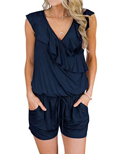 - MIROL Women's Summer Sleeveless V Neck Ruffle Shorts Elastic Waist Jumpsuit Rompers with Pockets (Medium, Navy)