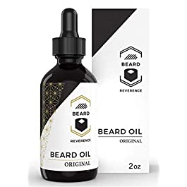 All Natural Beard Oil (Unscented) by Beard Reverence – Large 2oz Size – Premium Leave-in Conditioner, Softener, Moisturizer for Beard & Mustache Grooming, Health, Growth, and Care