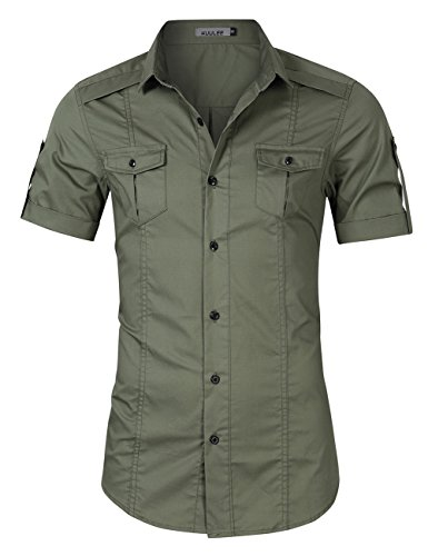 - Kuulee Men's Casual Slim Fit Short Sleeve Button Down Dress Shirts Army Green S