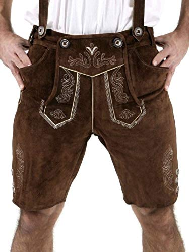 Cuir Craft Authentic Lederhosen German Bavarian Lederhosen Oktoberfest Choc Brown Short Length (34 Inches Waist)
