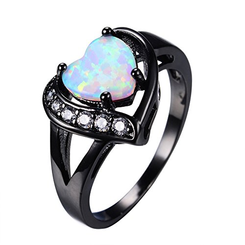 CHIC White Fire Opal Heart Ring With Zircon Black Gold Ring Promise Engaget Rings Bridal Fashion Jewelry